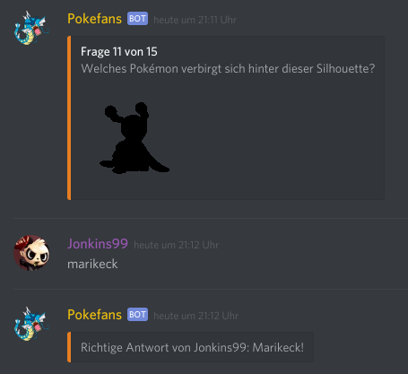 Der Quizbot in Aktion