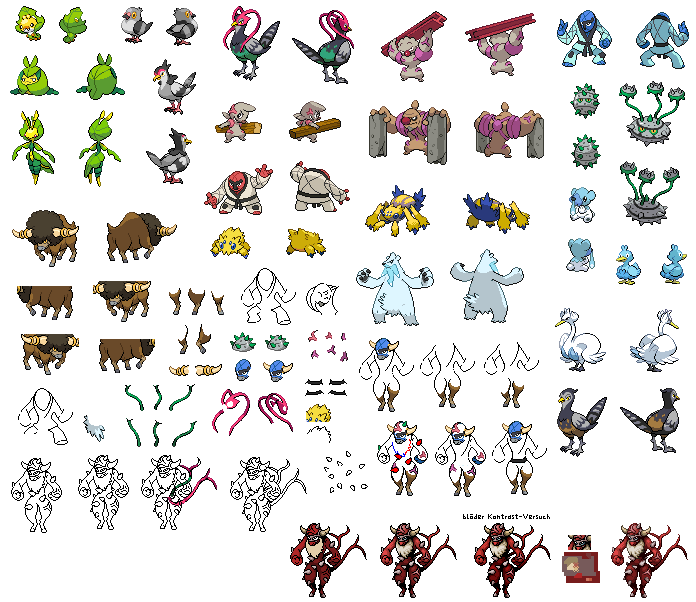 All shiny pokemon sprites black white