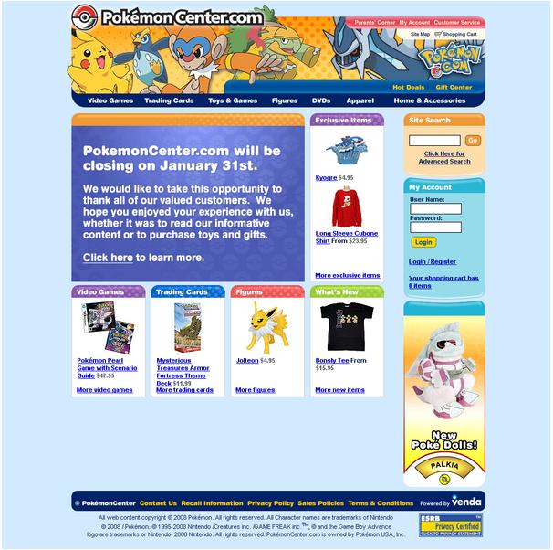 Pokemoncenter.com (US-Online-Geschäft) kurz vor der Schließung