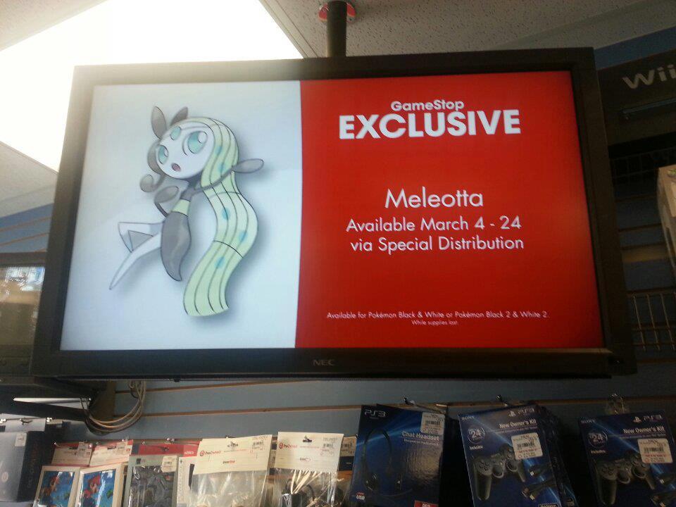 Ein GameStop-Werbeplakat mit der Meloetta Event Verteilung