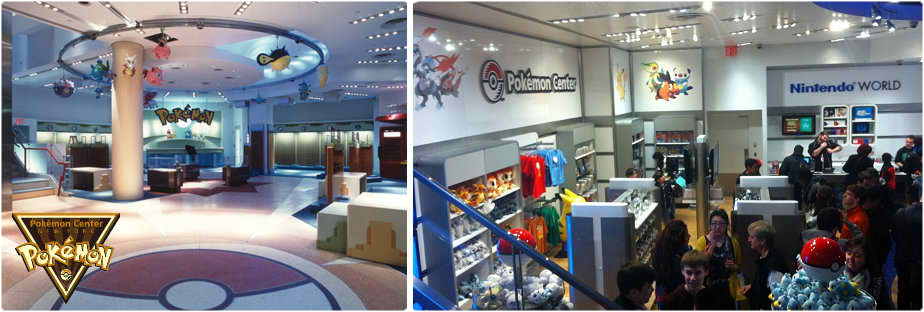 Pokémon Center New York (links) und heutiger Nintendo World Store (rechts)