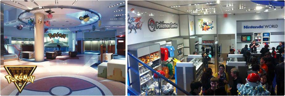 Pokémon Center New York (links) und heutiger Nintendo World Store (rechts)