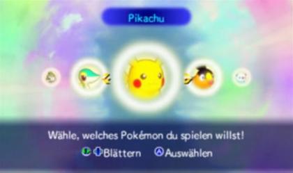 Wähle ein Pokémon aus Pikachu, Floink, Ottaro, Milza und Serpifeu