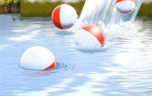 NFC-Figuren Kapseln fallen in einen Fluss...