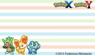 Pokémon X und Y Briefpapier mit den Starter Pokémon: Weltweit
