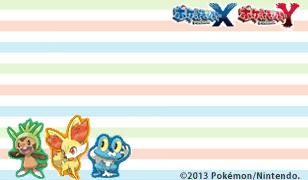 Pokémon X und Y Briefpapier mit den Starter Pokémon: Japanisch