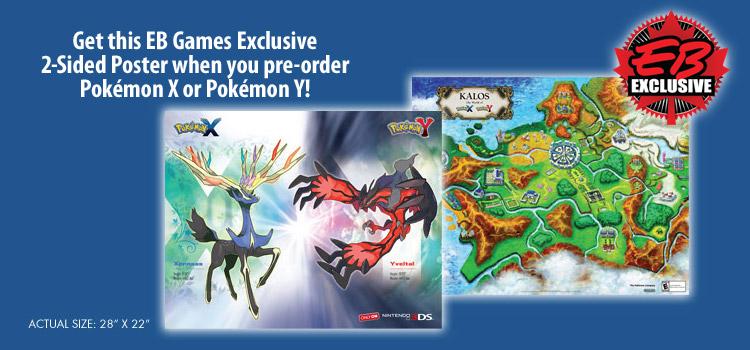EB Games: Doppelseitig bedrucktes Plakat zu Pokémon X und Y