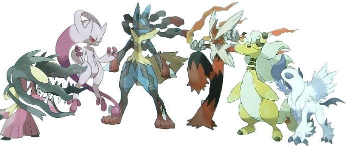 Mega-Flunkifer, Mega-Mewtu, Mega-Lucario, Mega-Lohgock, Mega-Ampharos und Mega-Absol