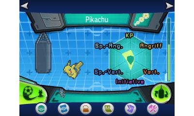 Die Werte-Anzeige am Beispiel eines Pikachus