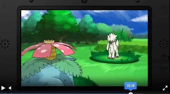 Ein alpakaähnliches Pokémon im kampf gegen Bisaflor