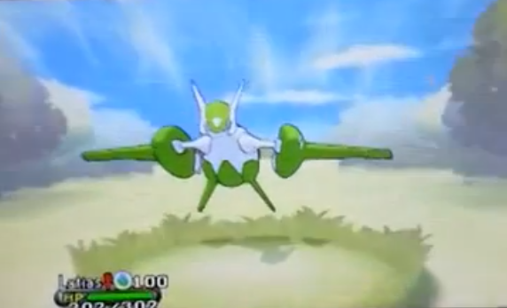 Shiny Mega-Latias ist ebenso wie Mega-Latios grün