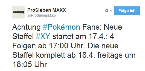 Pokémon X und Y-Anime auf 7MAXX