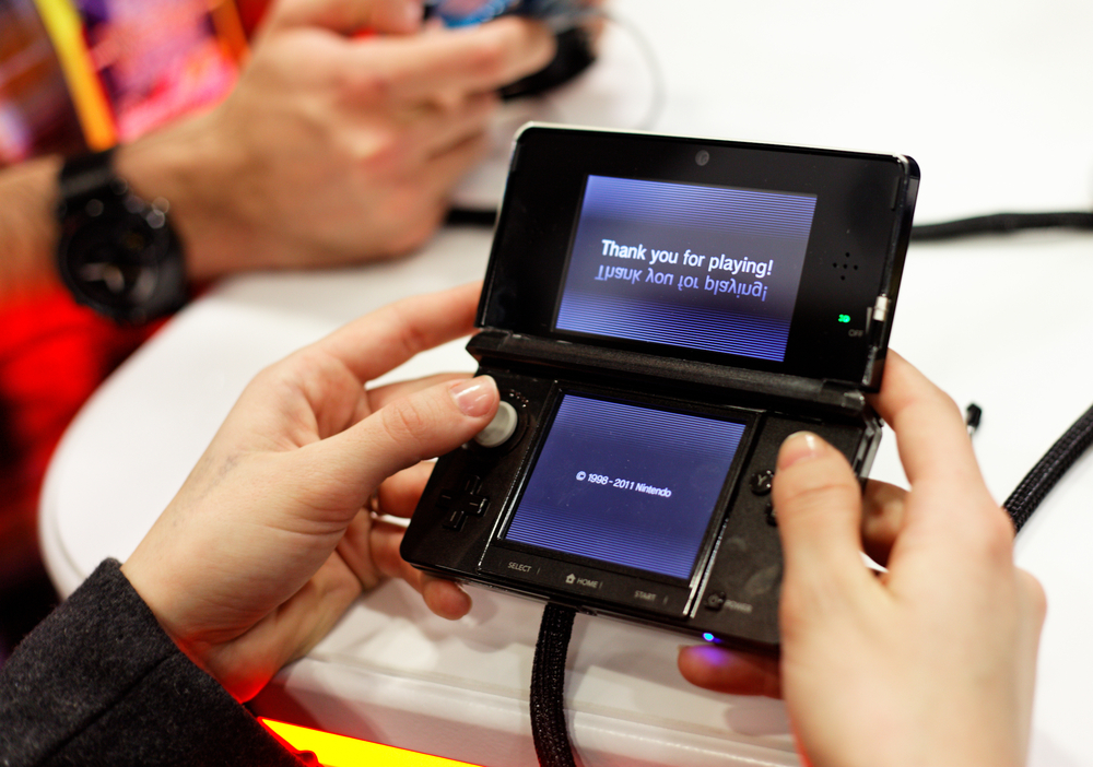 "Nintendo 3DS mit der Nachricht ""Thank you for playing"""